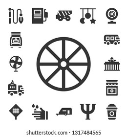 car icon set. 17 filled car icons.  Simple modern icons about  - Toy, Trunk, Fan, Wheel, Delivery truck, Bus, Brandenburg gate, Jam, Road sign, Fuel station, Wash, Dump truck
