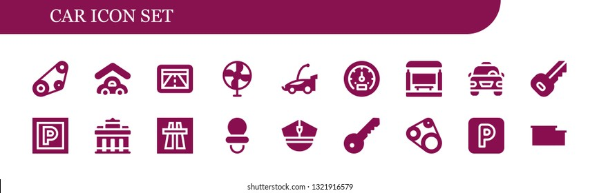 car icon set. 18 filled car icons.  Simple modern icons about  - Timing belt, Garage, Gps, Fan, Car, Tachometer, Bus stop, Taxi, Key, Parking, Brandenburg gate, Motorway, Dummy