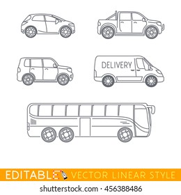 Car icon set. City travel, Delivery van, Family car, Crossover pickup. Editable vector graphic in linear style.