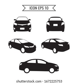 Car icon set isolated on the white background. Ready to apply to your design. Vector illustration.