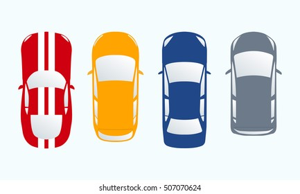 Car icon set. Top view cars in flat style. Vector illustration.