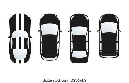 Car icon set. Top view. Vector illustration or different type of cars.