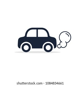 Car icon side view. Car exhaust traffic fumes. Vector isolated flat illustration.