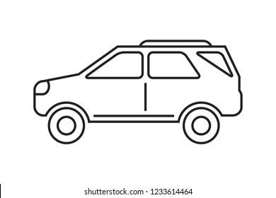 Car icon, suv vehicle line icon, outlined black isolated on white background.