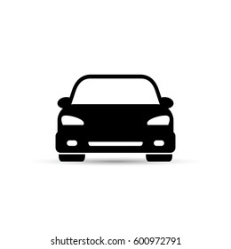 Car icon. Vector isolated simple illustration. Front view.