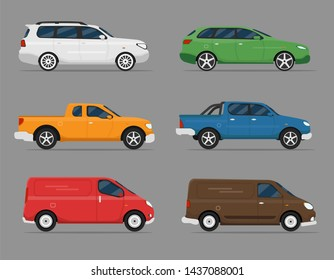 Car Icon Vector Logo Template. Cars set. Flat style. Side view, profile.