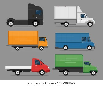 Car Icon Vector Logo Template. Cars set. Flat style. Side view, profile. Truck auto