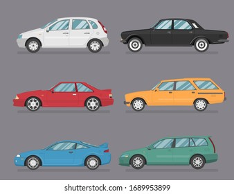 Car Icon Vector Logo Template. Flat style. Side view, profile.