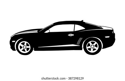 Car icon. Vector icon sport car. Icon black muscle car isolated.