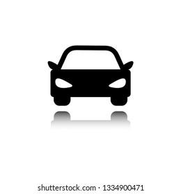 Car icon vector. symbol of car. icon with mirror shadow