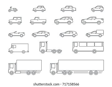 car icons, cars of lines, flat design of lines, automobile icons set, outline cars