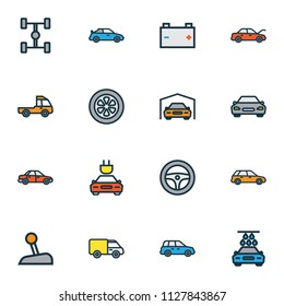 Car icons colored line set with sport, gear, tesla and other electric  elements. Isolated vector illustration car icons.