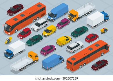 Car icons. Flat 3d isometric high quality city transport. Sedan, van, cargo truck,  off-road, bus, scooter, motorbike, riders. Set of urban public and freight transport