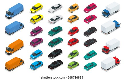 Car icons. Flat 3d isometric high quality city transport. Sedan, van, cargo truck, hatchback. Set of urban public and freight transport