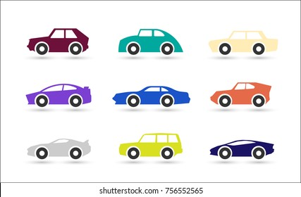Car icons. Isolated vector shapes for logo.