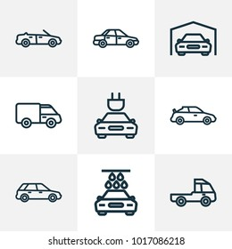 Car icons line style set with plug, cabriolet, carwash and other hatchback elements. Isolated vector illustration car icons.