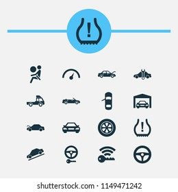 Car icons set with auto hood, hill descent, airbag and other repairing elements. Isolated vector illustration car icons.