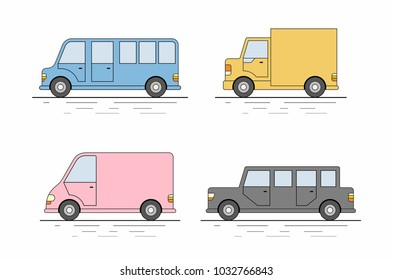 Car icons set. Flat colors style. Vector illustration
