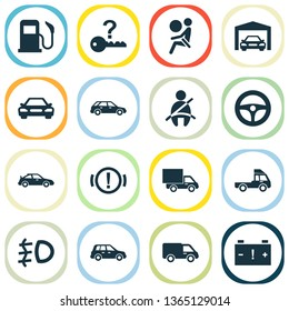Car icons set with garage, van, handbrake warning vehicle elements. Isolated vector illustration car icons.