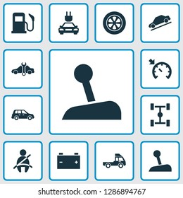 Car icons set with gear lever, tie, electric car and other plug elements. Isolated vector illustration car icons.