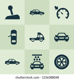 Car icons set with car, sedan, sports automobile and other wheel elements. Isolated vector illustration car icons.