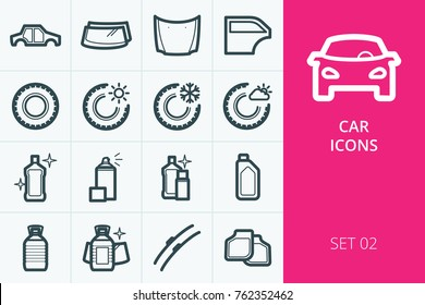 Car icons set. Set of tires, car fluids, body parts, auto glass, car mats and wipers vector icon