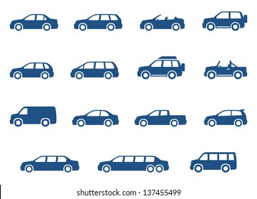 Car icons set. Vector silhouettes of vehicles