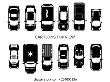 Car icons top view. Auto and transportation, collection automobile, ambulance and police, taxi and swat. Vector illustration