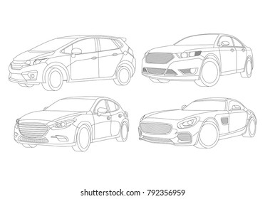 Car illustration, Car Illustration, Auto icon, Sport car, Modern auto, Transportation concept, Line vector, Rent car
