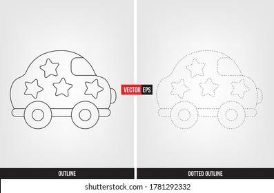Car illustration color and trace, tracing worksheet for preschool and kindergarten vector