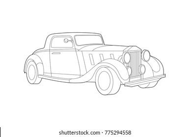 Car illustration, Vector car, Line art, Technology concept, Vintage car, Classic car, Old school