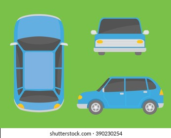 car illustration view from all side font side top