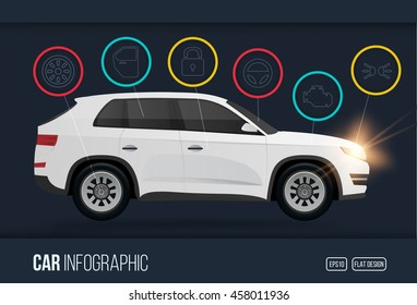 Car infographics design template with charts and elements, bright flat color automotive vector illustration