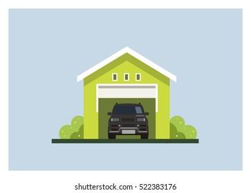 a car inside of the garage