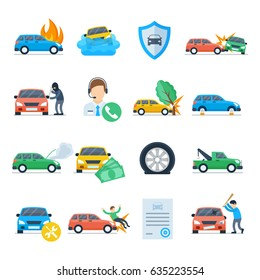 Car insurance against unpleasant incidents icon set. Providing services for car insurance vector illustration in a flat style.