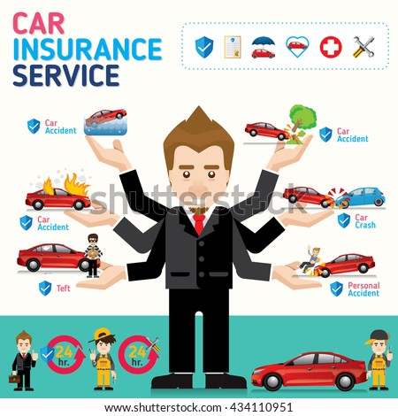 car insurance business service icons template can be used for workflow layout banner