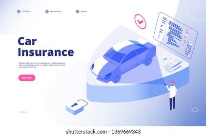 Car insurance concept. Damaged crash fire flood thief cars accident auto insurance security automobile claim form vector landing page