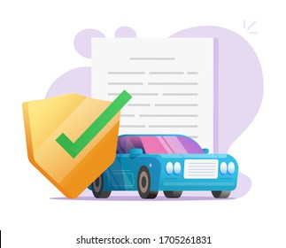 Car insurance coverage protection contract document with shield or auto vehicle guarantee assurance legal doc policy vector flat illustration, automobile warranty safety agreement modern design