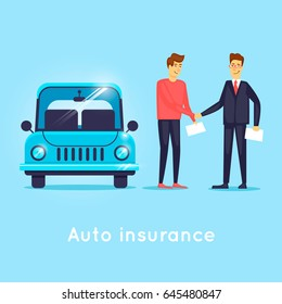 Car insurance. Flat design vector illustration.