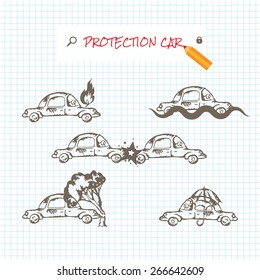Car insurance icons set. Protection car illustration in doodle style. All object on a separate layers. Cartoon cars. Different situations of car crash. Car insurance. Eps 8