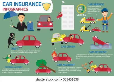Car insurance infographics elements. car crash and accident with claim service. vector illustration.
