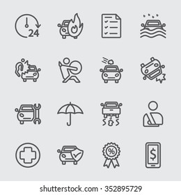 Car insurance line icon