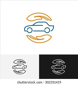 Car insurance logo with care hands around