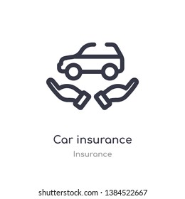 car insurance outline icon. isolated line vector illustration from insurance collection. editable thin stroke car insurance icon on white background