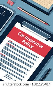 Car Insurance Policy Concept with Clipboard, Modern Smartphone, Ball Pen and Glasses. Flat Lay, Top View. Vector Halftone Isometric Illustration.