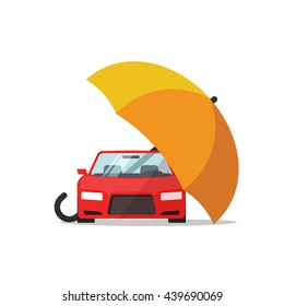 Car insurance vector concept, automobile or vehicle protection, flat cartoon auto protected with umbrella illustration, automobile safety icon isolated on white background