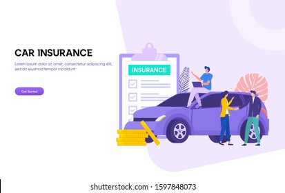 Car insurance vector illustration concept . man and woman deal withh insurance agent and signing form, can use for, landing page, template, ui, web, homepage, poster, banner, flyer