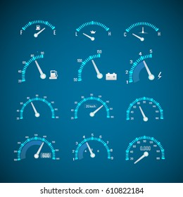 Car interface elements set with different indicators and meters on blue background isolated vector illustration