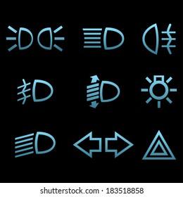 Car interface symbols. Icon set of car light elements
