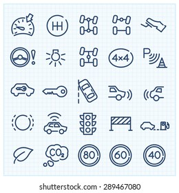 Car interface thin line vector icons set